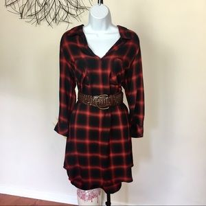 CLOTH & STONE plaid fall dress. Red and black.